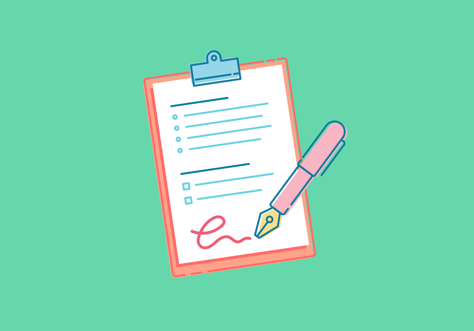 An illustration of a pen signing a form on a clipboard