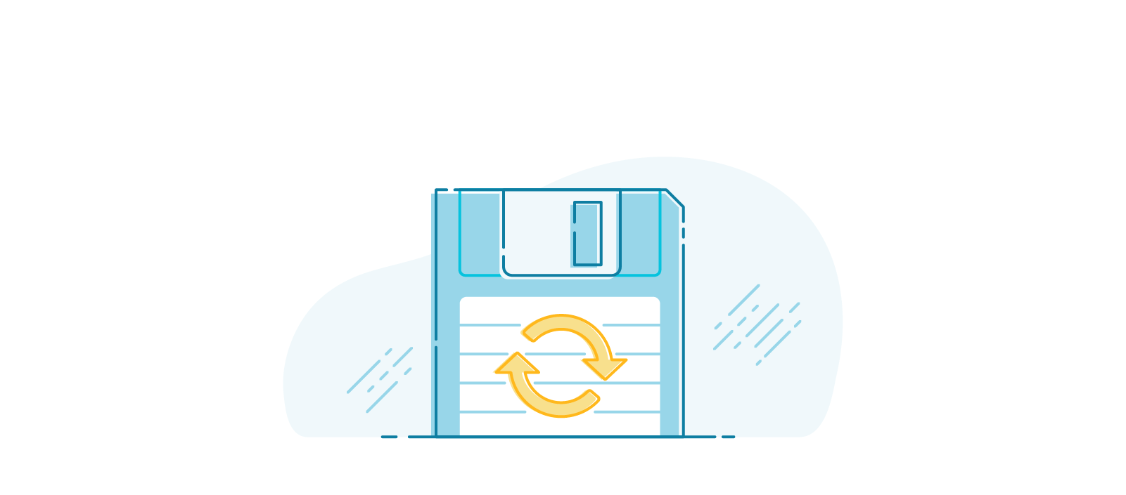 Illustration of an old floppy disk.