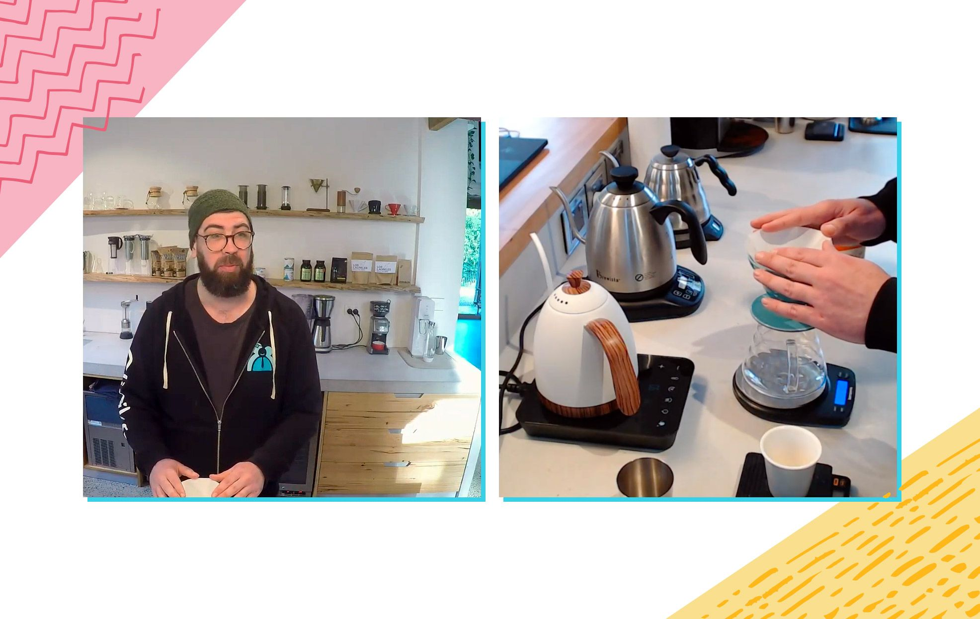 A split-image screenshot that shows Joel preparing his coffee (left) and his setup for V60 pour over (right).