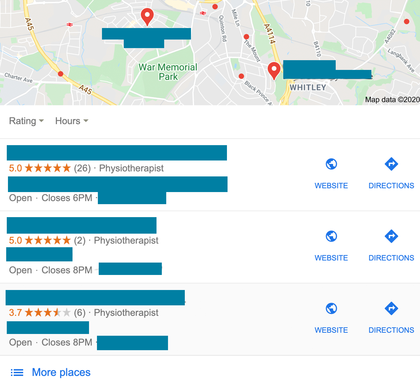 A screenshot showing a local search result for for the term 'physiotherapist'
