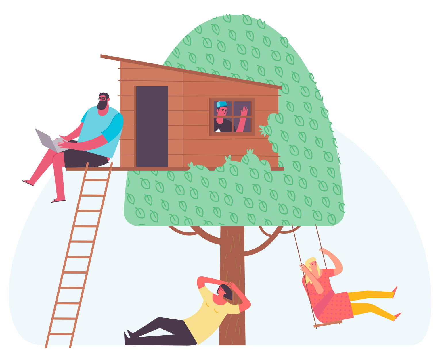 A group of people relaxing in the tree-house they just built