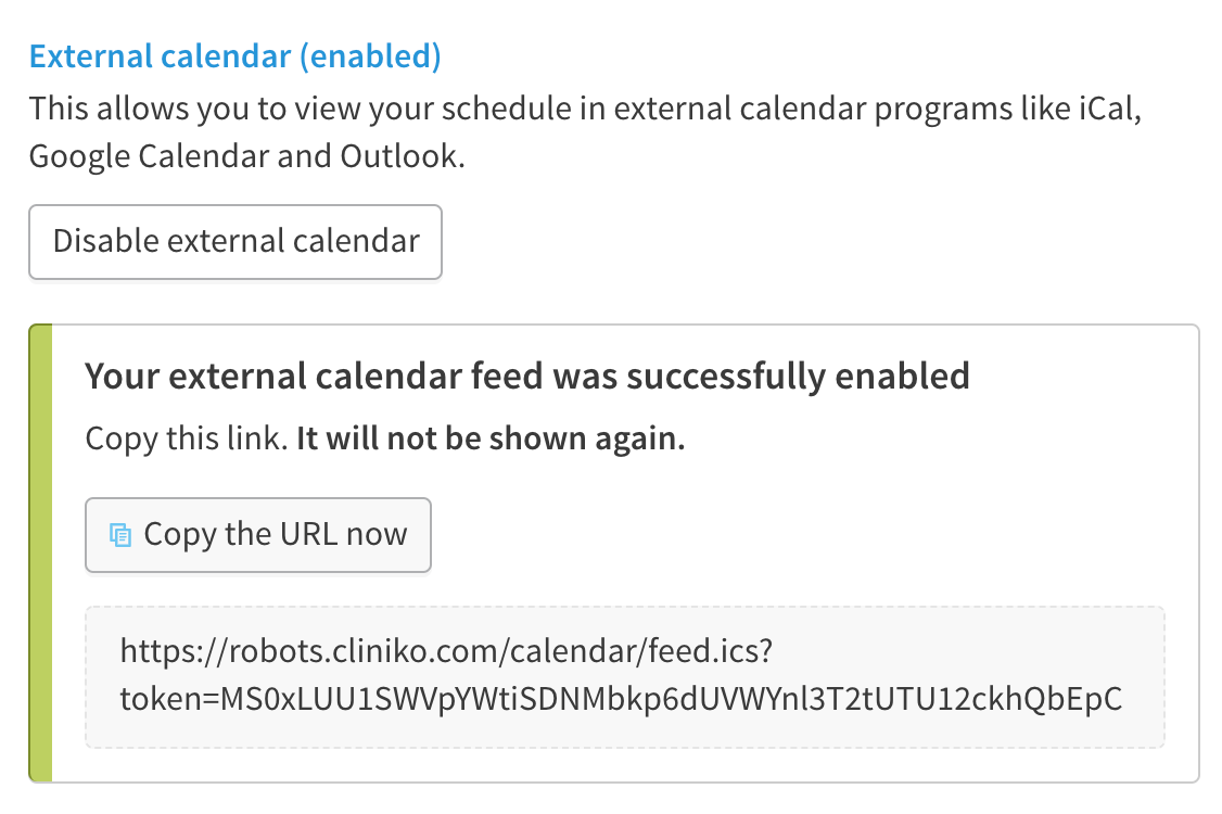 Example of external calendar url.