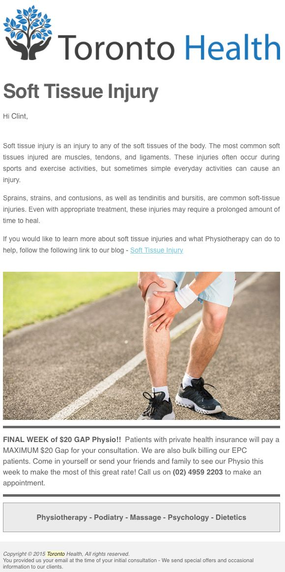Clinic article about soft tissue injury.