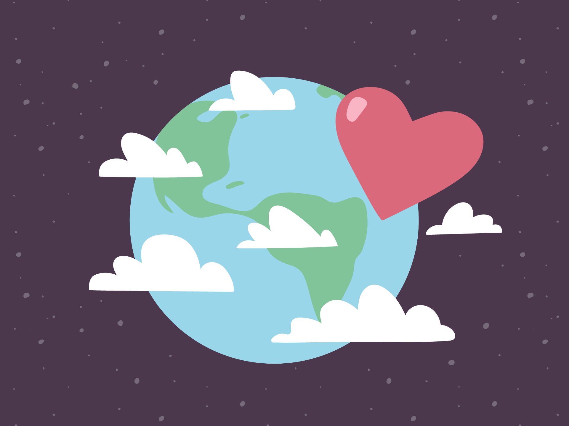 Illustration of the Earth in space with a heart