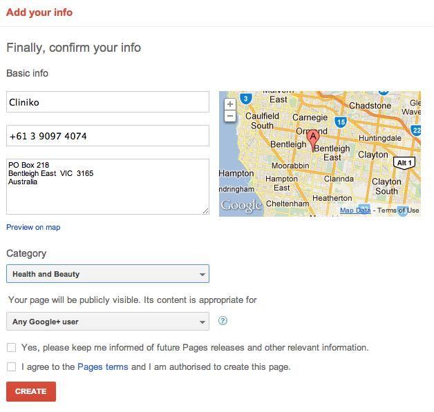 Google plus basic info form.