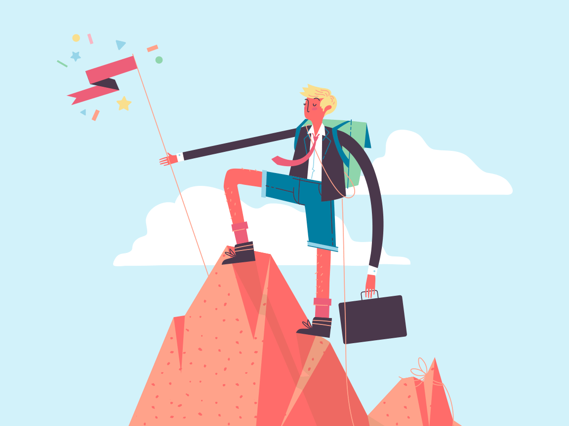 An illustration of a man with a briefcase scaling a mountain to plant a flag at the summit