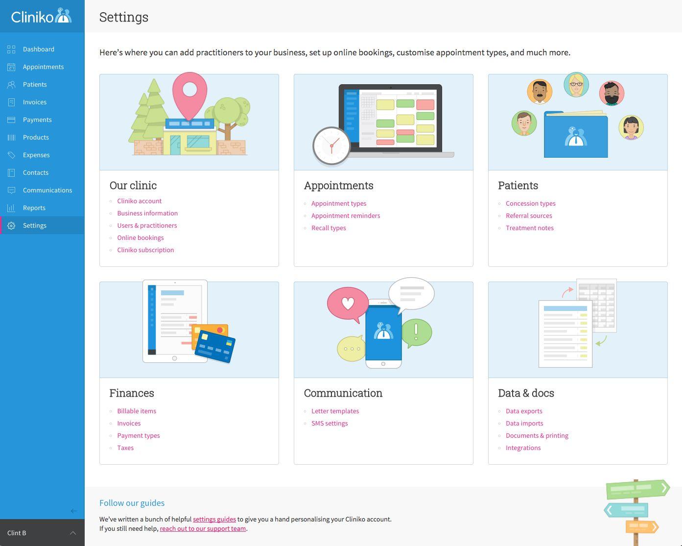 Cliniko's settings page
