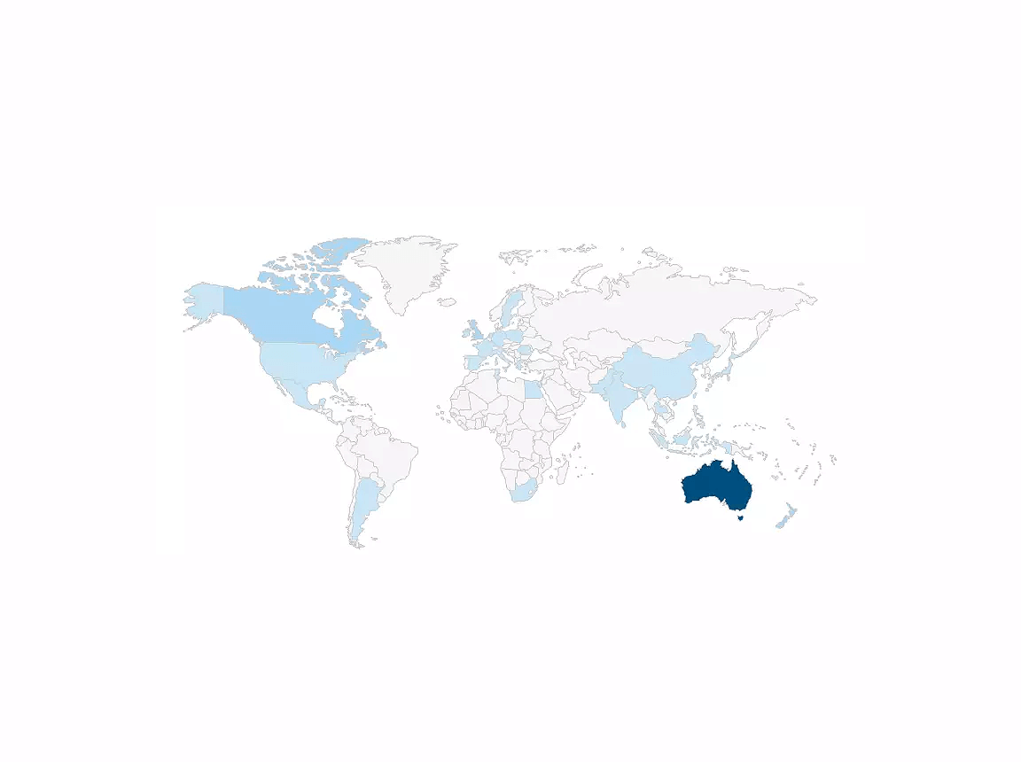 Map displaying Cliniko usage around the world - most usage is in Australia, Canada and Europe.