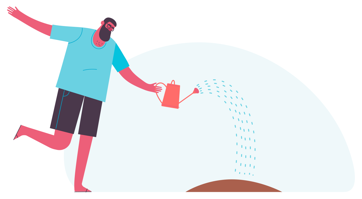 Illustration of a person using a watering can to water the seeds they just planted