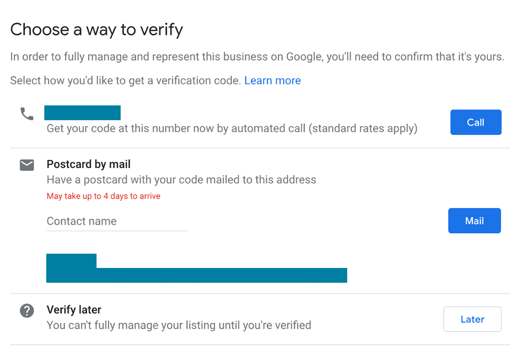 Screenshot of the verification process for an existing business in Google Maps