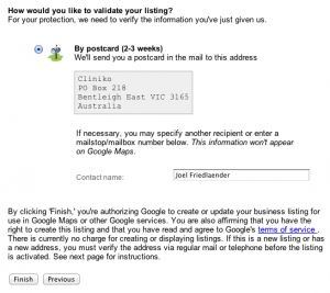 Google places business validation screen.