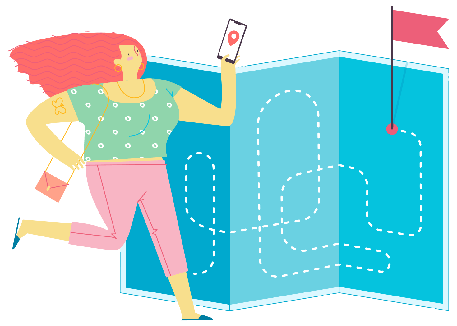Illustration of a person using a mobile phone to navigate to a destination, which is displayed on an oversized map behind them.
