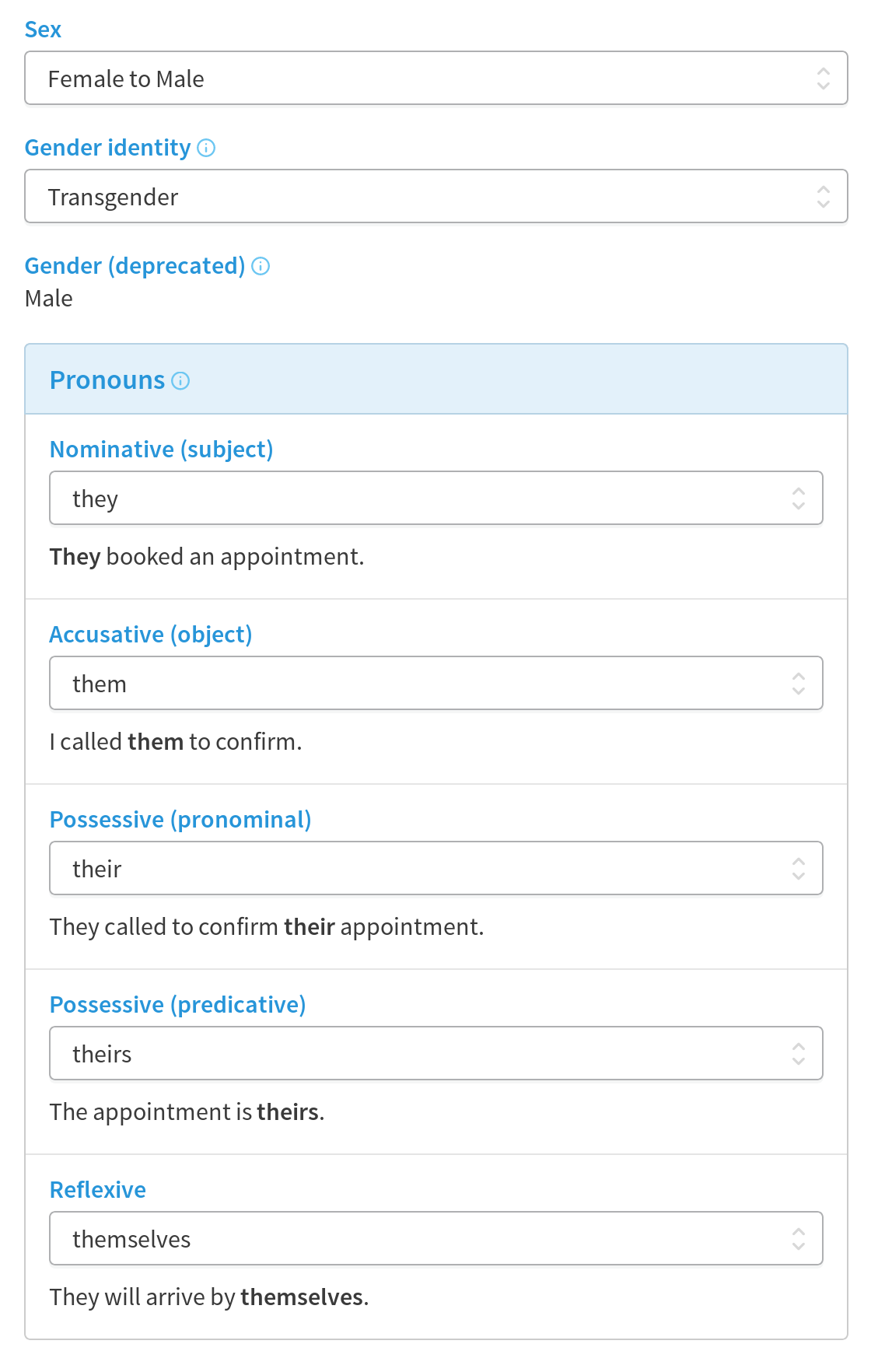 Cliniko settings for sex, gender identity and pronoun options.