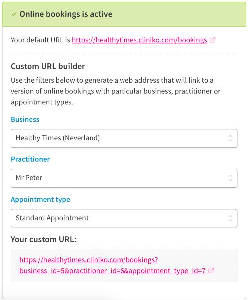 Screen to customize a URL for online bookings.