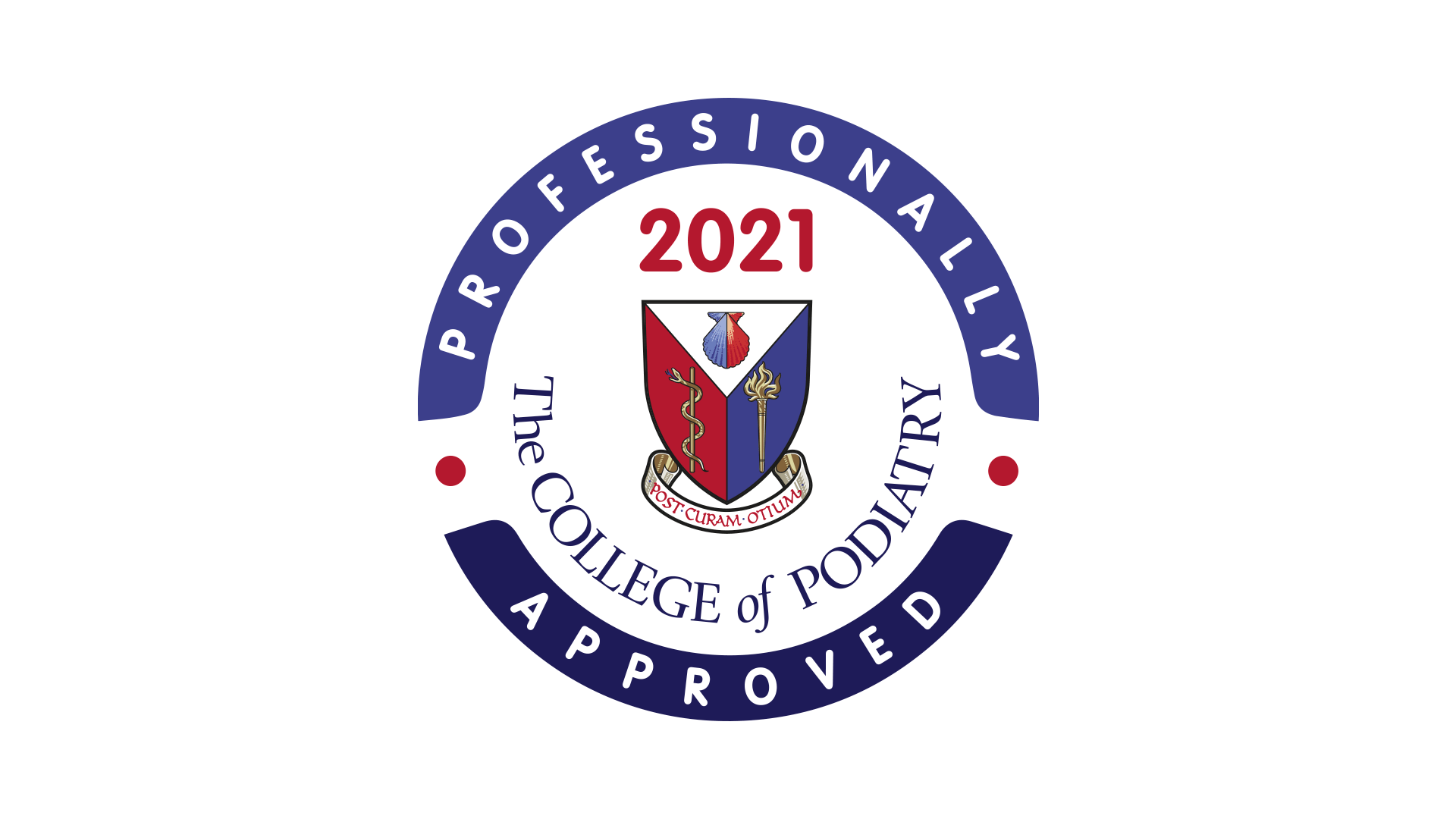 Logo: The College of Podiatry Professionally Approved 2021
