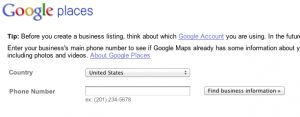 Google places business information form.
