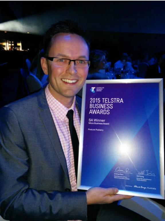 Daniel Gibbs with his 2015 Telstra Business Award