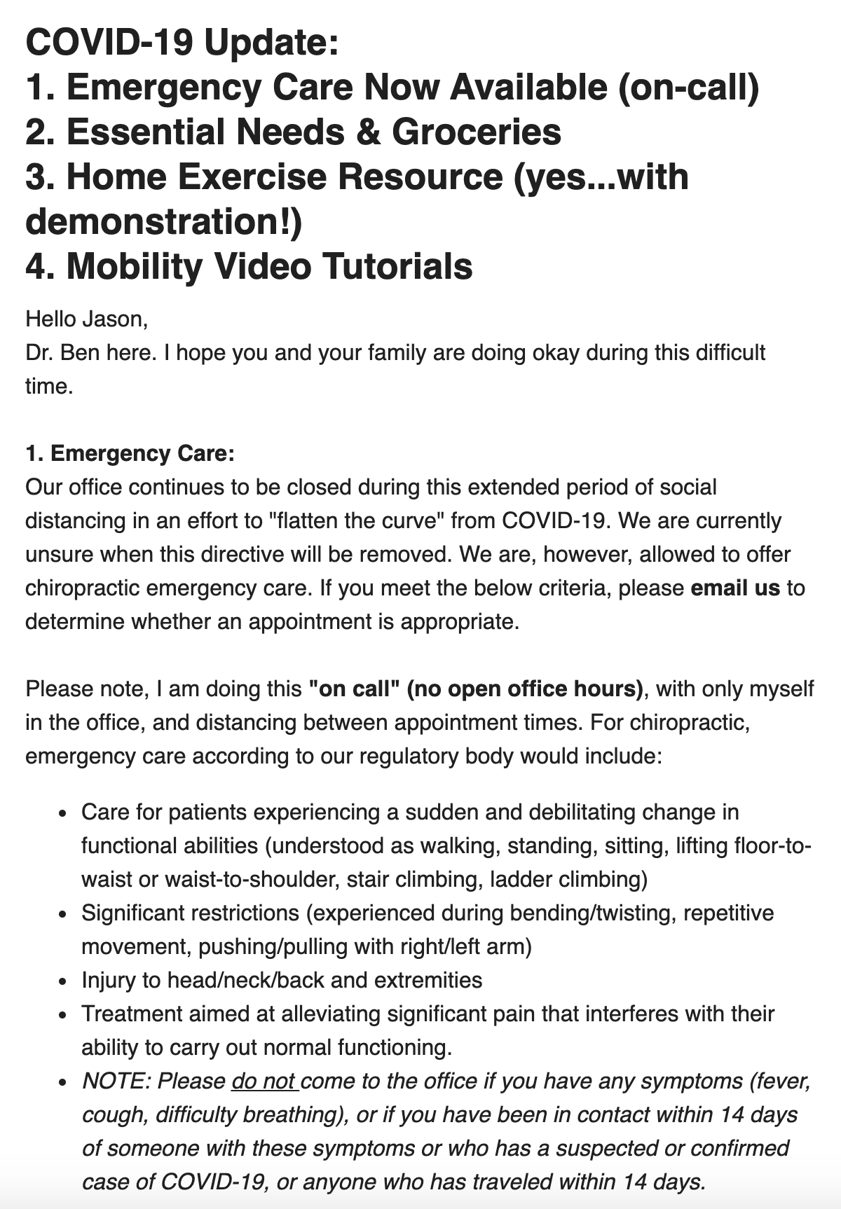 An email from Riverside Chiropractic to customers with information about their response to COVID-19
