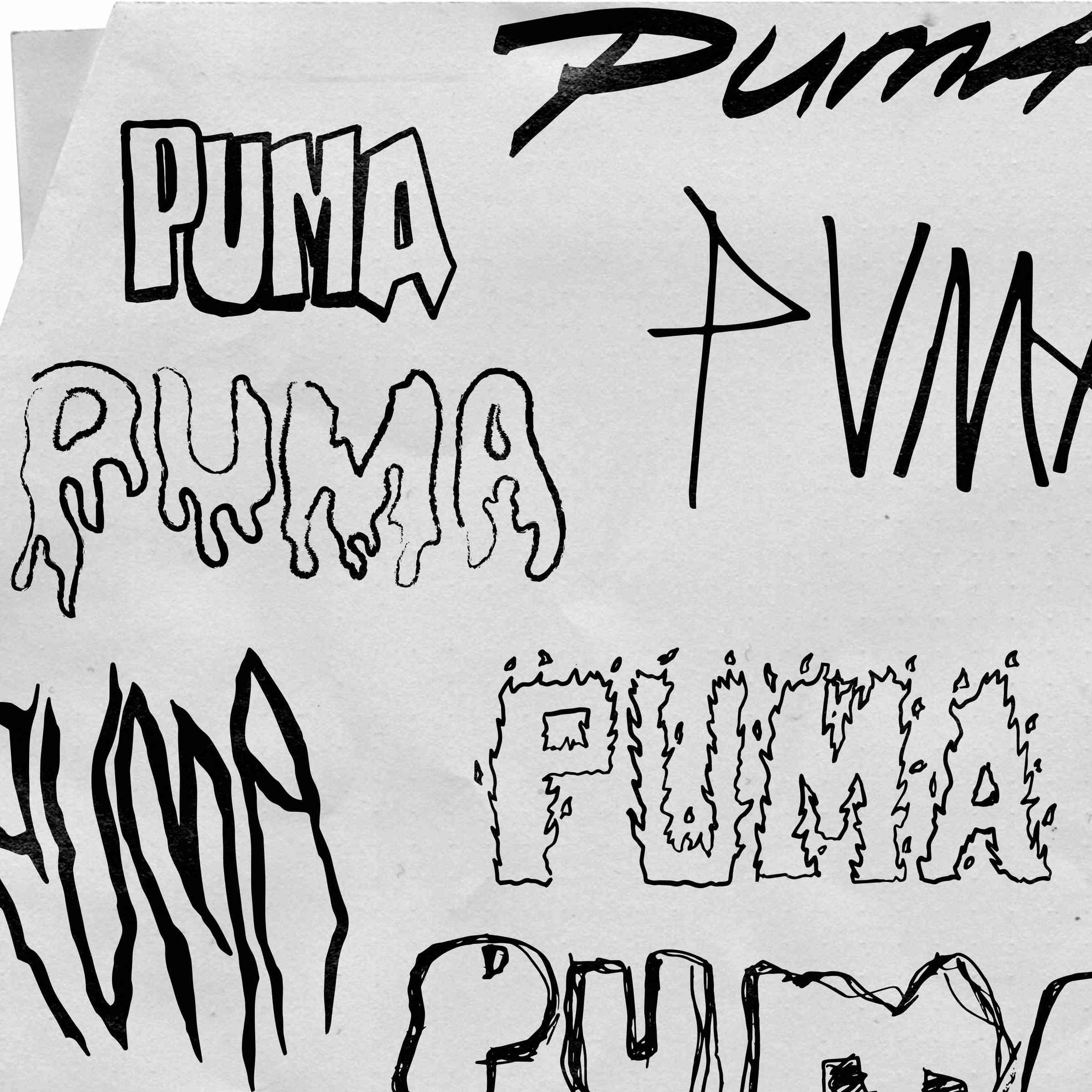PUMA logo hand drawn illustrations.