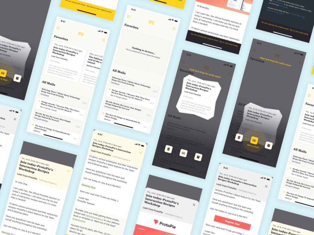 Mail app wireframing