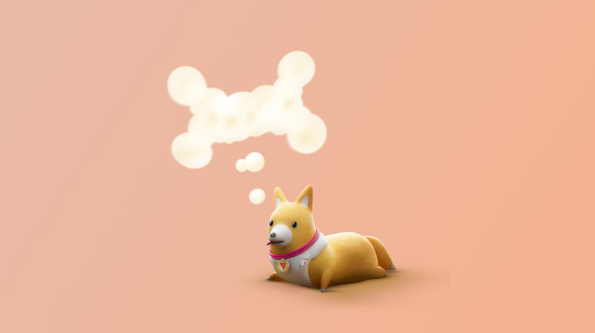 ProtoPie pie dog thinking of an idea