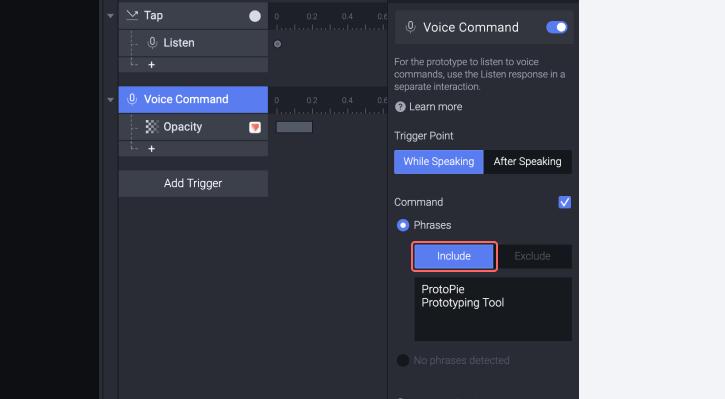 Screenshot of voice command feature in ProtoPie Studio