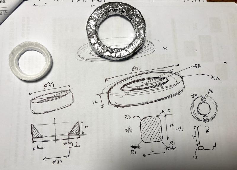 Handrawn blueprint of a loupe