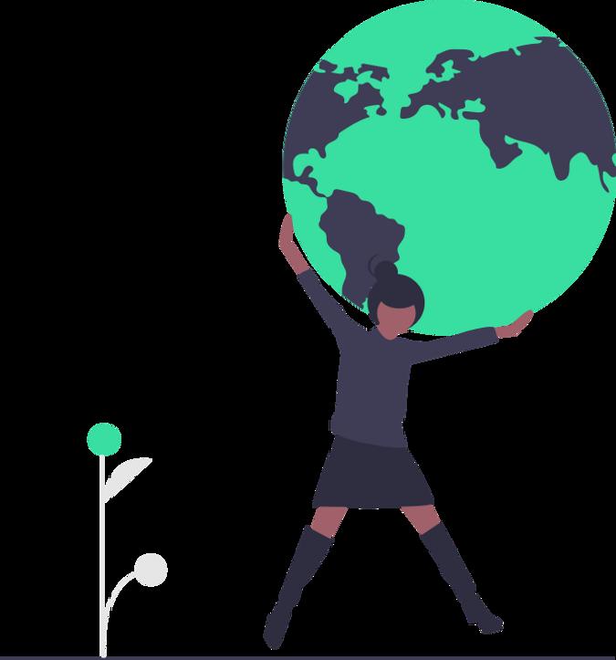 Dark skinned woman holding the Earth