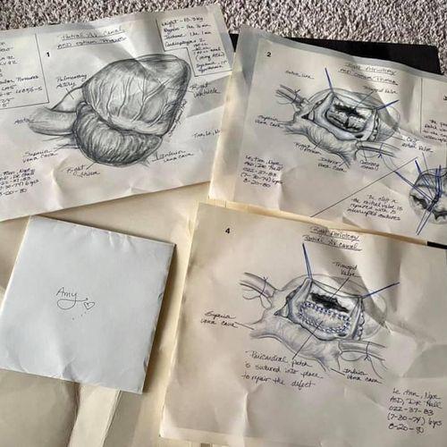 Original drawings of Amy's heart surgery