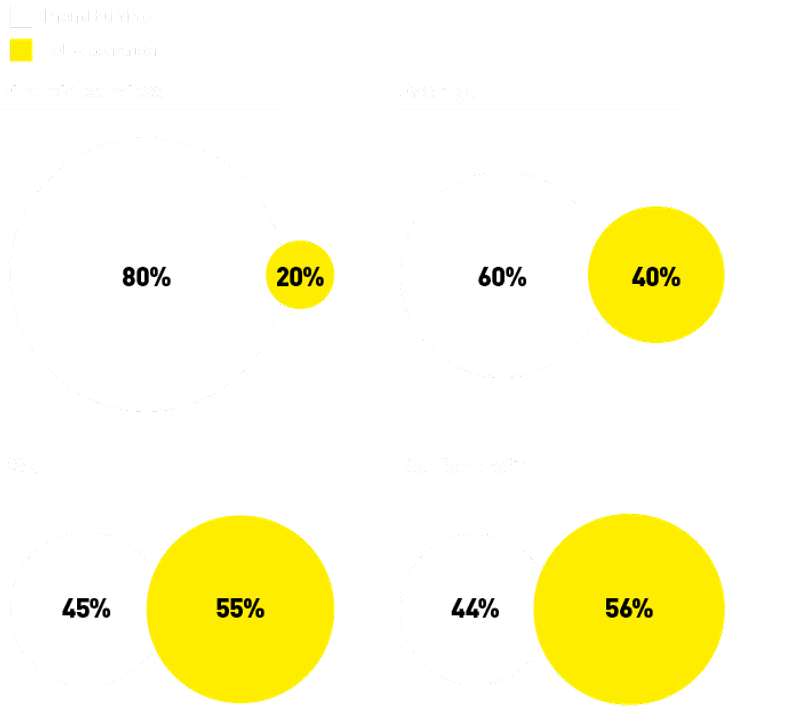 A graph showing budget differentiation in brand building and sales generation strategies
