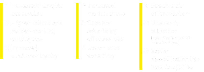 Graphic that shows benefits of brand