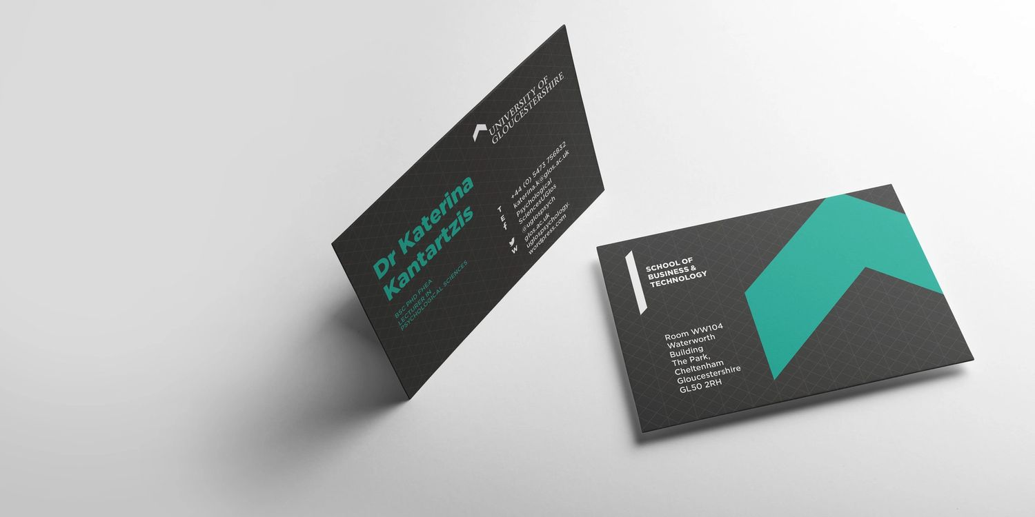 University of Gloucestershire business cards