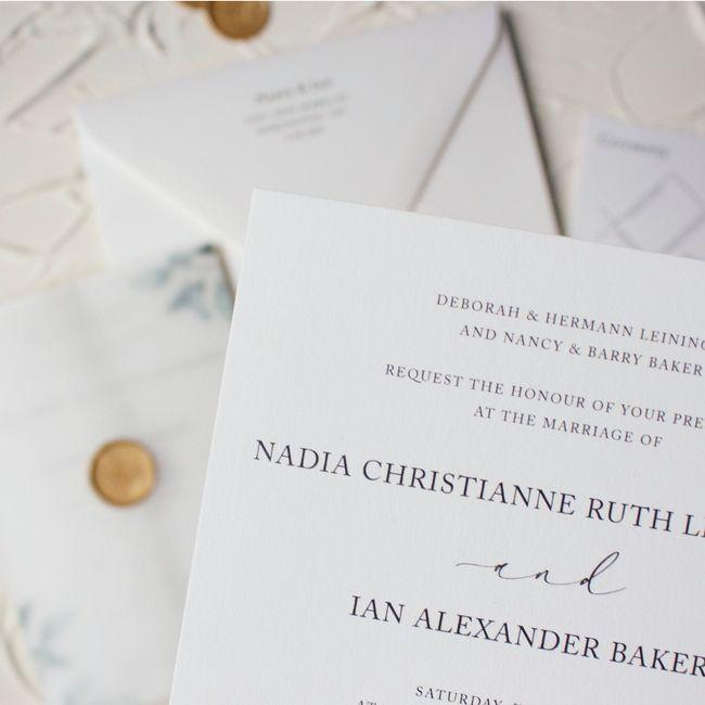 Custom designed letterpress invitation suites