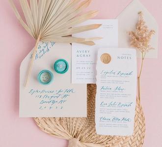 Fully customizable wedding invitation suite.