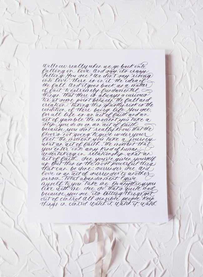 Set of handwritten calligraphy vows