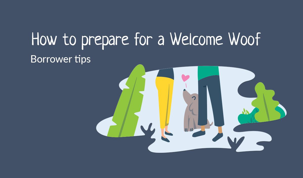 How to prepare for a welcome woof, illustration of people meeting with a dog by their feet