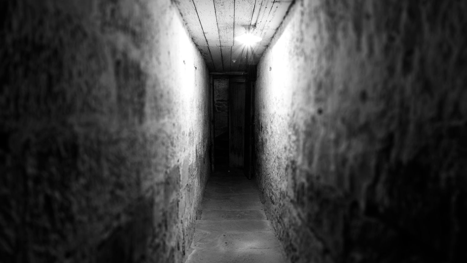A single bulb illuminates a narrow stone passageway of stone. A few paces ahead, the passage ends in shadow—whether it is a wall or a door is unclear.