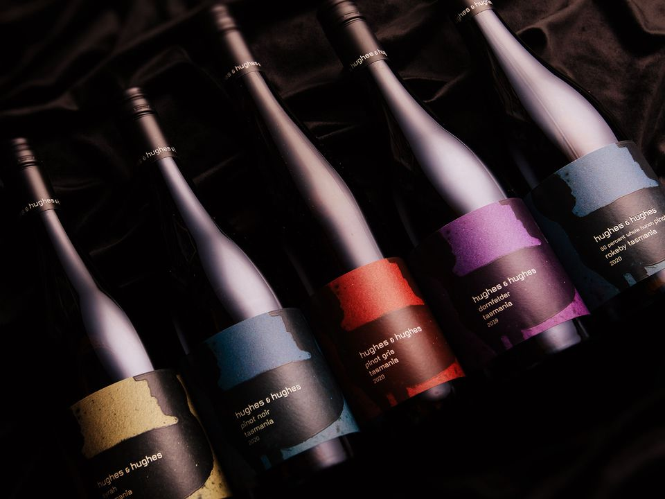 Five bottles of Hughes & Hughes wine.