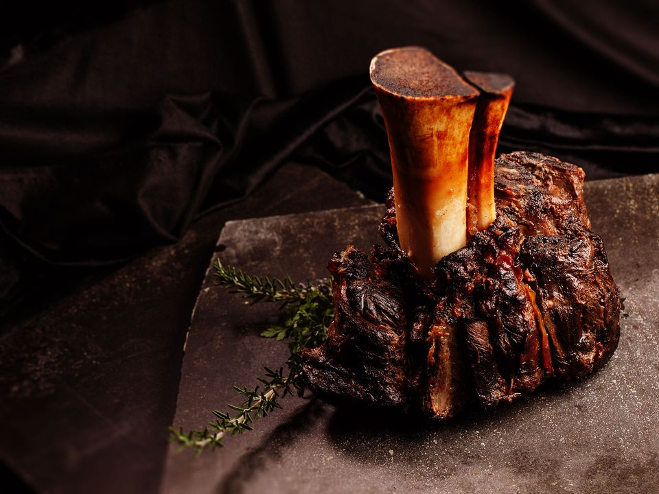 Roasted English Longhorn beef topped with rosemary.