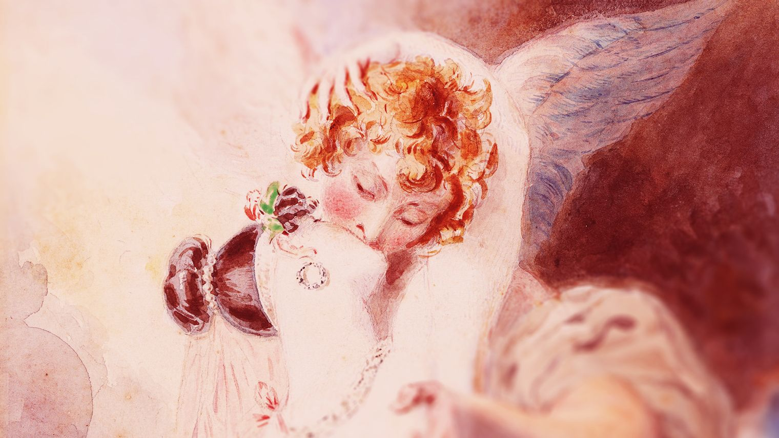 A watercolour painting by artist Thomas Griffiths Wainewright, depicting a woman kissing an angel.