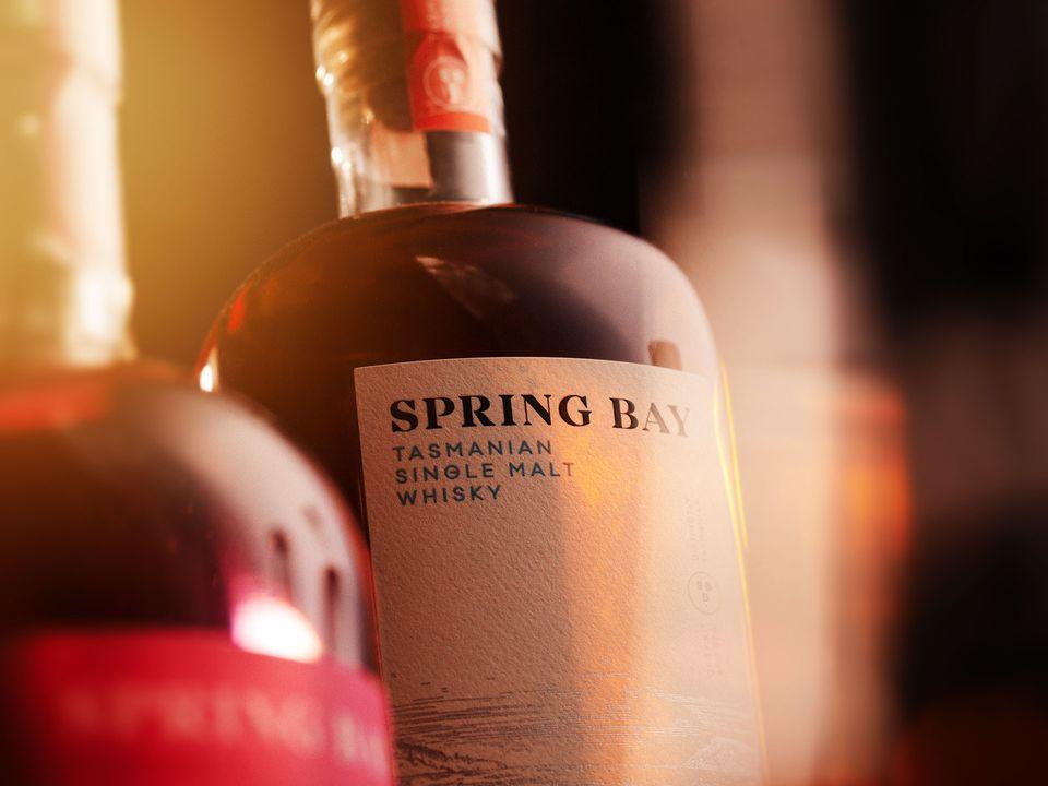A bottle of Spring Bay Tasmanian Single Malt Whisky.