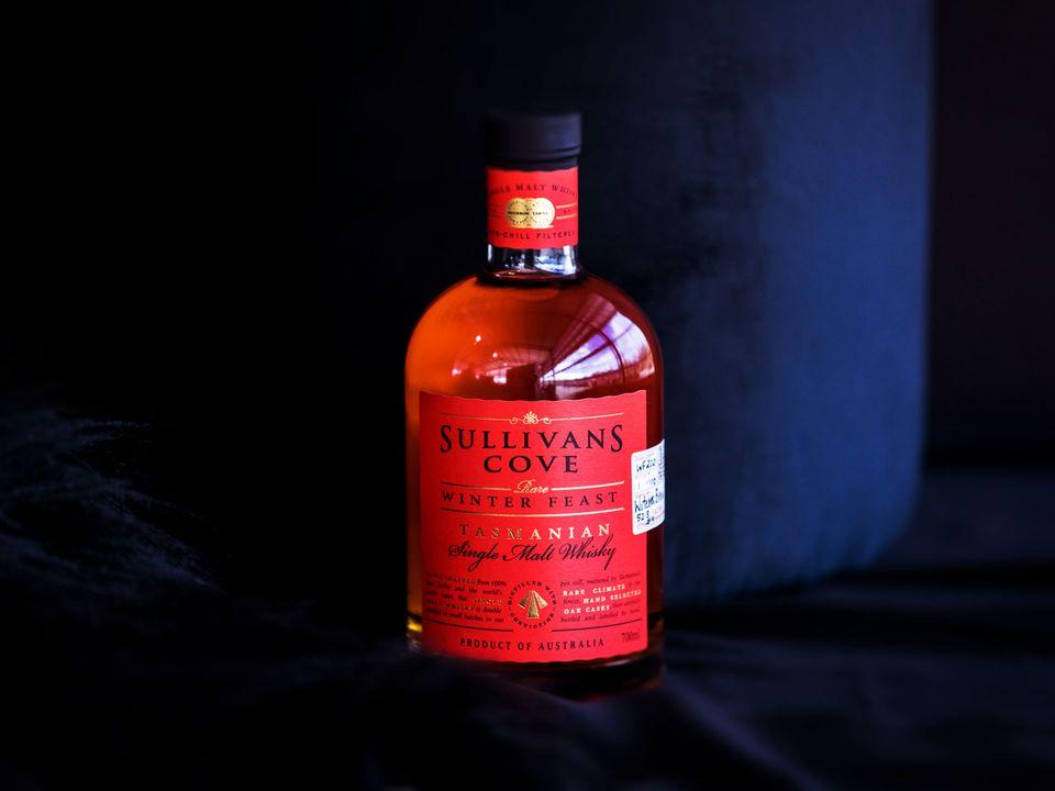 A bottle of Sullivans Cove Tasmanian Single Malt Whisky, Winter Feast Edition.