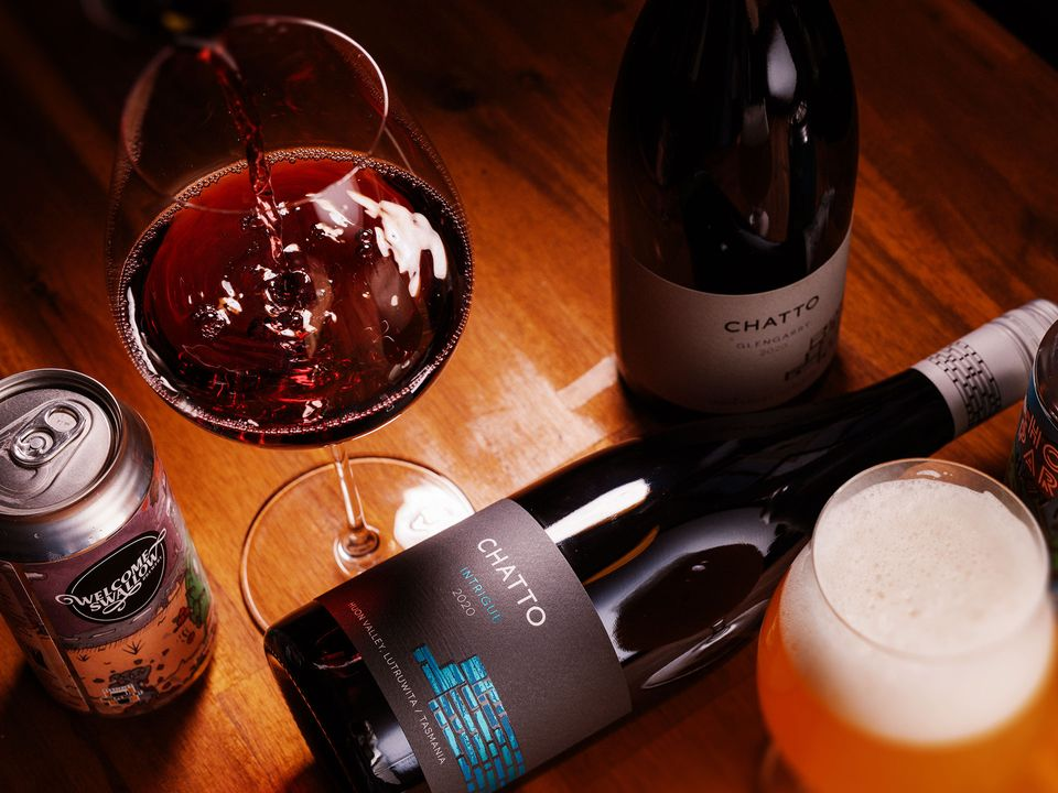A bottle and a glass of Chatto pinot noir.