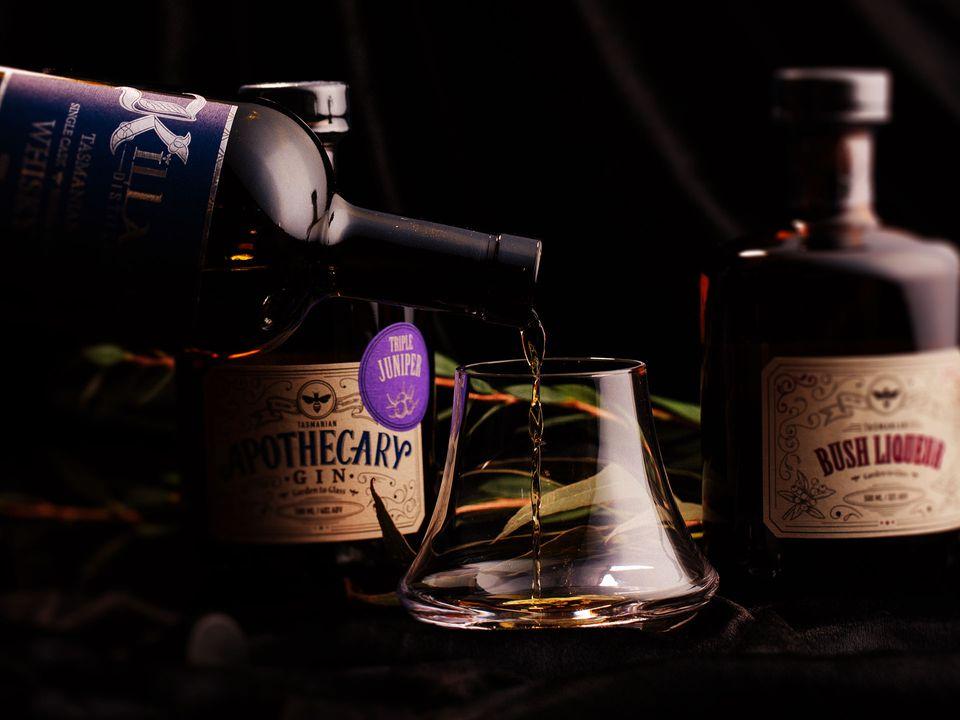Killara Distillery's malt whisky being poured into a tumbler.