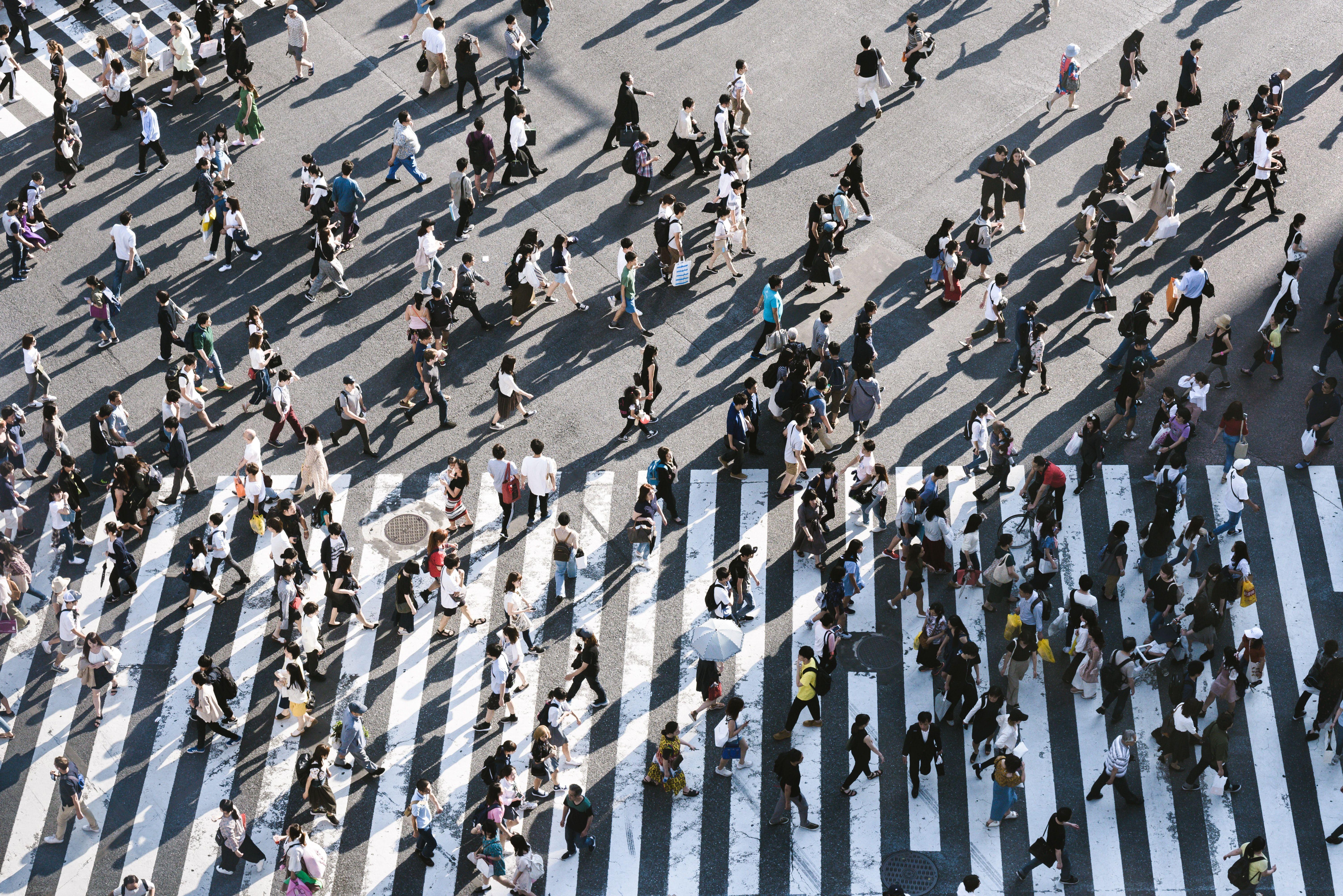 Image of people crossing crosswalk