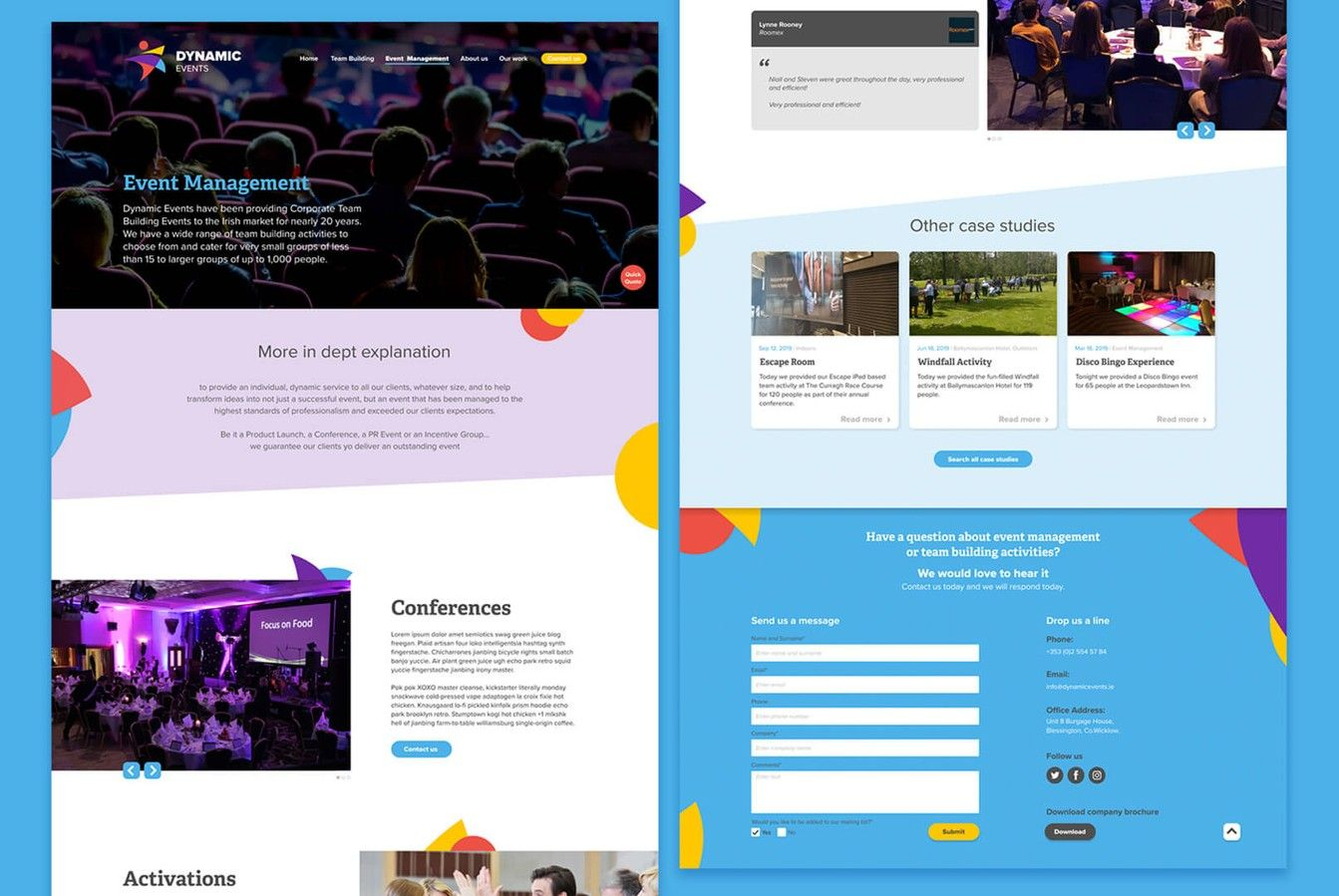 Dynamic Events Website Layout