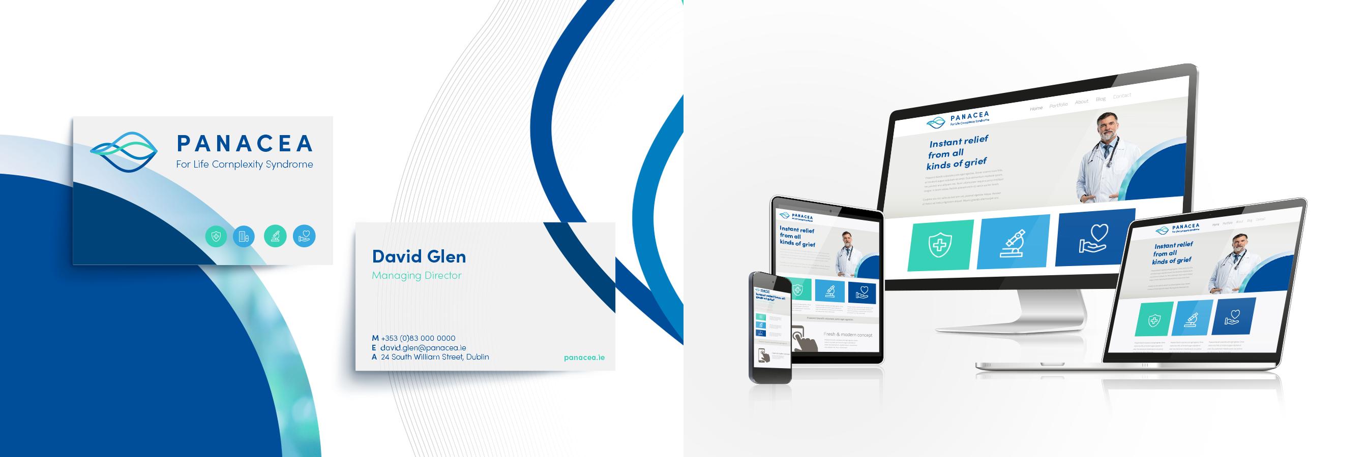 Pancea Healthcare Marketing Business Cards Responsive Website