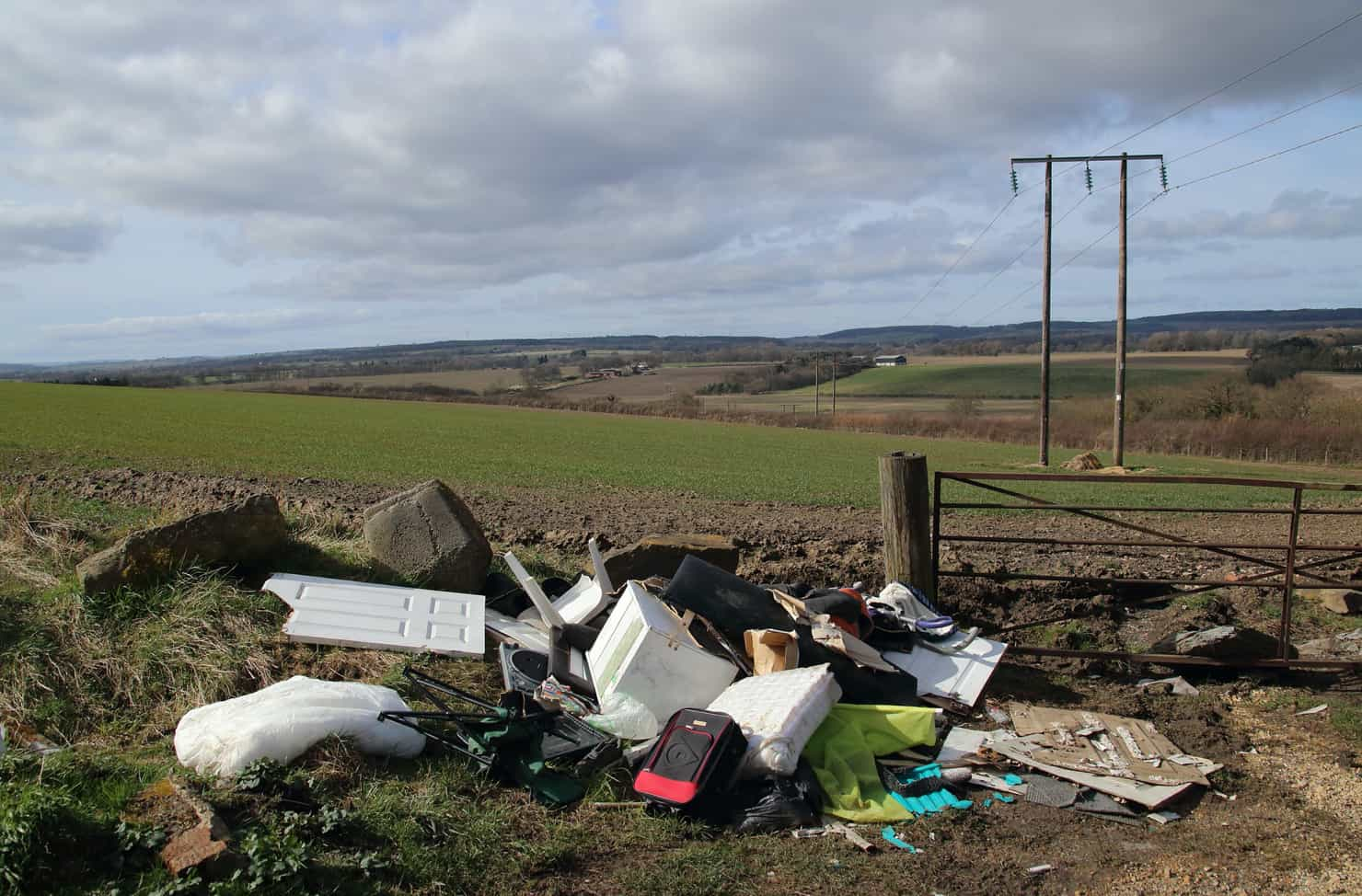 waste tipped in a field
