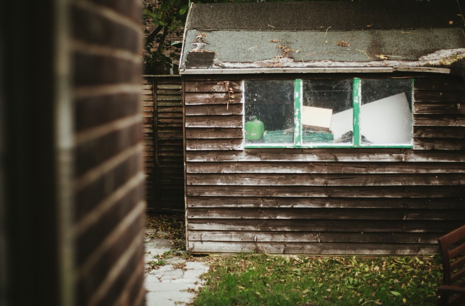 shed in a back garden