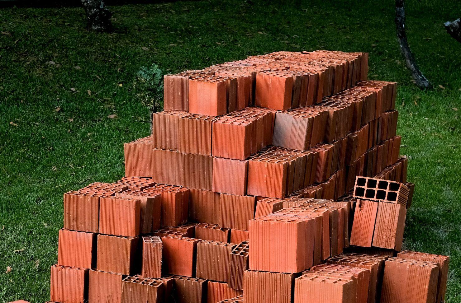 Bricks ready for a mini skip